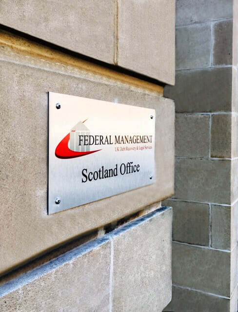 Recovering a debt from scotland scottish office sign 2020